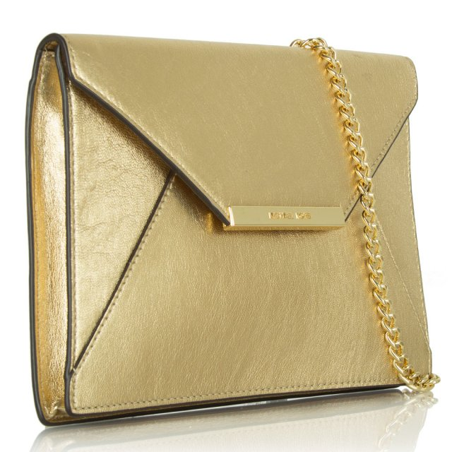 5ea6330aa0a265 Michael Kors Gold Leather Envelope Clutch