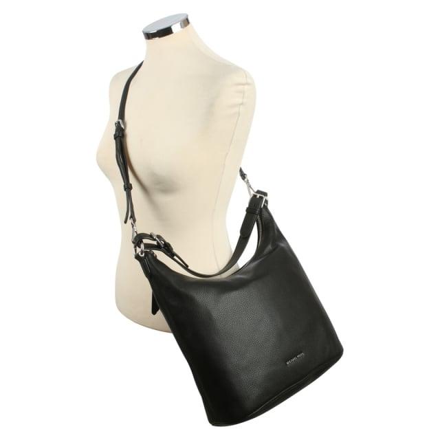 6b3cb3474874 Michael Kors Lupita Large Black Leather Hobo Bag