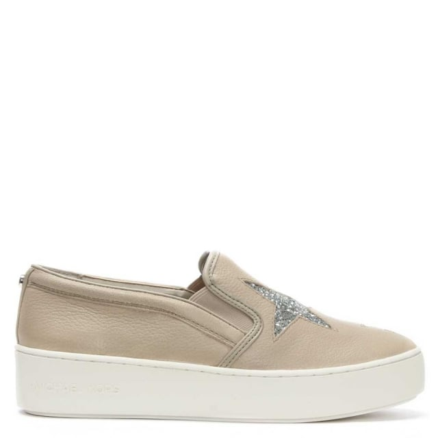 f05e965ee1ab Michael Kors Pia Star Cement Leather Slip On Trainers
