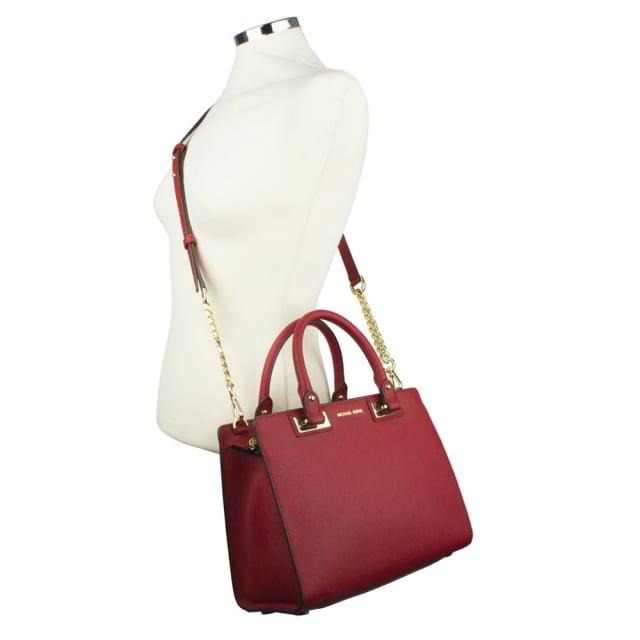 291a7e5195ab Michael Kors Quinn Medium Cherry Leather Satchel