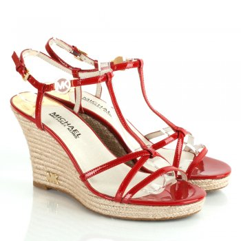 Red Women's Kami T Strap Wedge Sandal