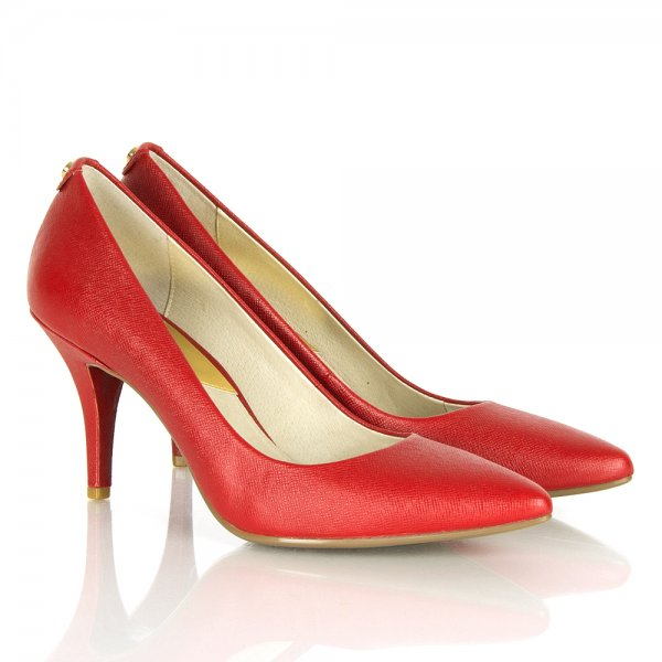 c07bdd65eed1 Michael Kors Red Saffiano Leather Mid Pump Court Shoe