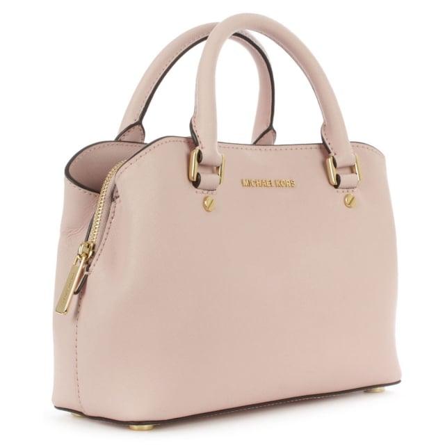 Michael Kors Savannah Small Pale Pink Saffiano Leather Satchel Bag c165a00075e1