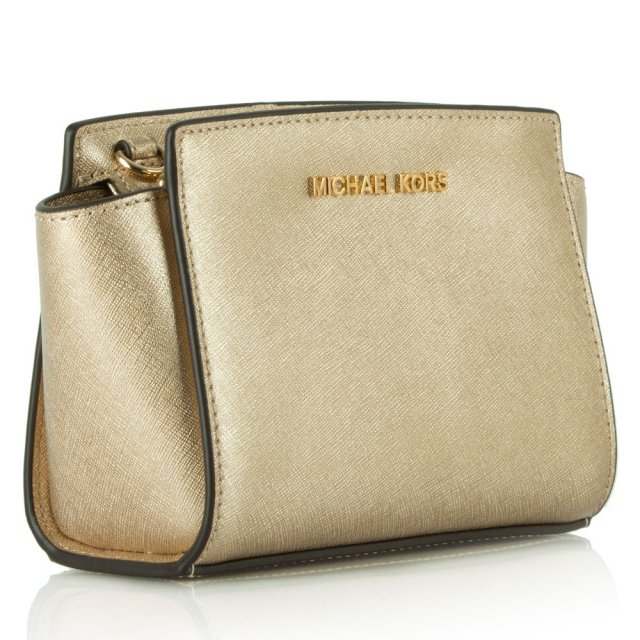 ef8f9ad731ee7 Micheal Kors Gold Leather Selma Mini Messenger Bag