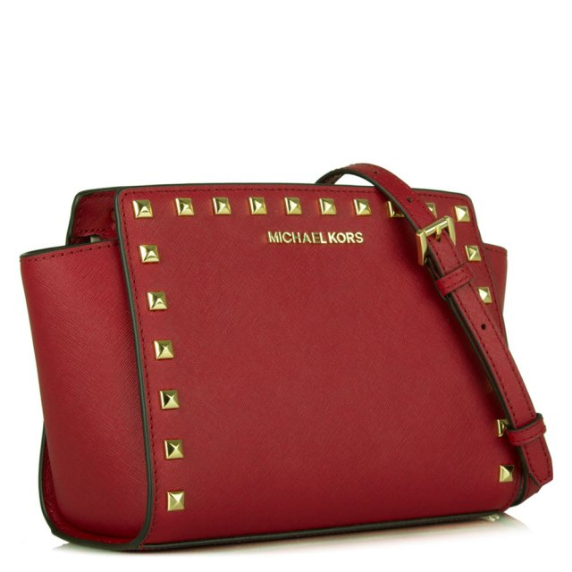 c3ceb615d7d1 Michael Kors Selma Studded Cherry Leather Messenger Bag