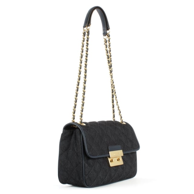 Sloan Large Quilted Dark Denim Shoulder Bag