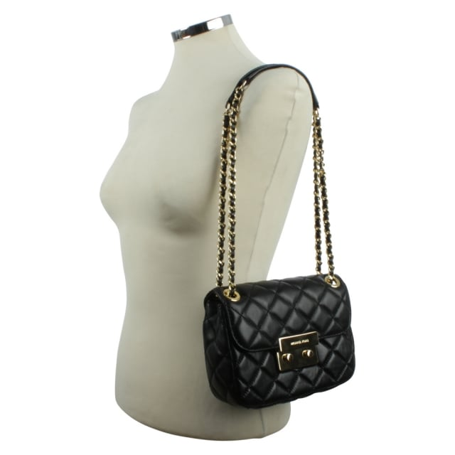 64072b86ef79 Michael Kors Sloan Small Black Leather Quilted Chain Shoulder Bag