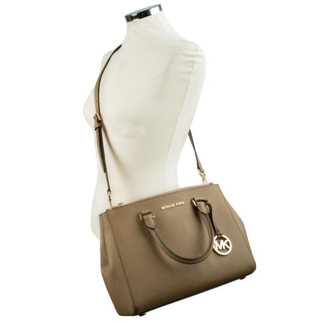 a1a8486bb0e14 Michael Kors Beige Leather Sutton Medium Satchel Bag