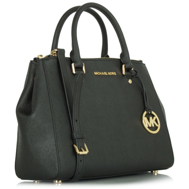 Sutton Medium Black Leather Satchel Bag 9c21bb6e51be9