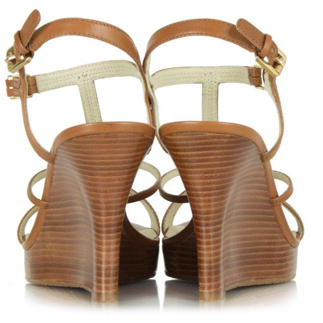 e4603d94023 Michael Kors Tan Leather Cicely Wedge Sandal