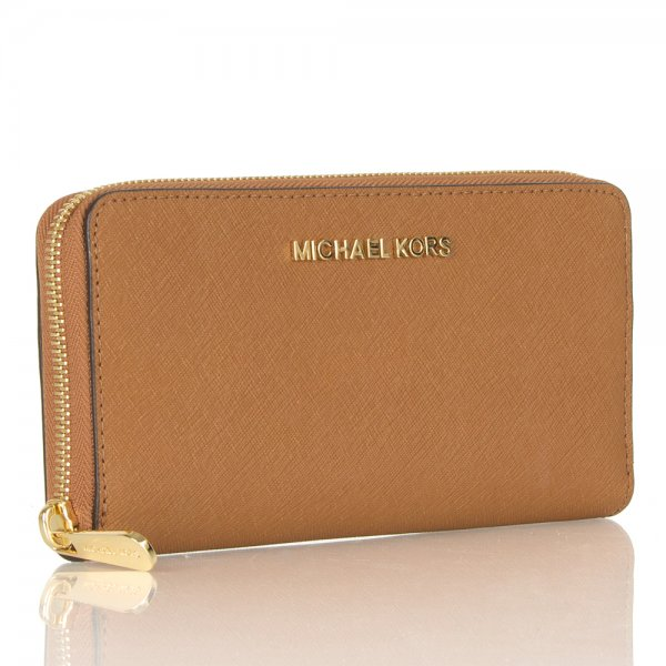 Michael Kors Tan Jet Set Continental Women s Leather Wallet f7b4255f5c45