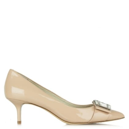Michelle Mid Pump Pink Patent Court Shoe