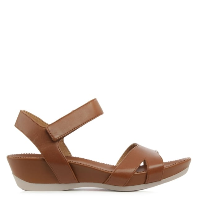 Micro Brown Leather Ankle Strap Velcro Wedge Sandal