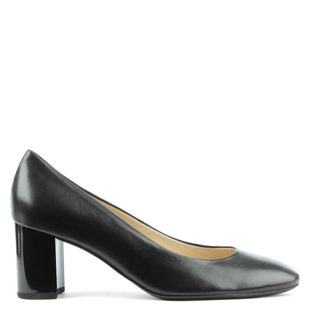 Mid Block Heel Black Leather Court Shoe