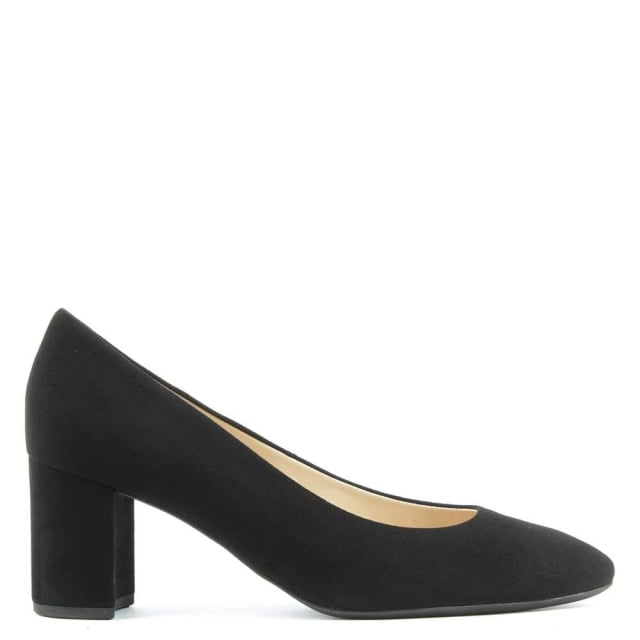 Mid Block Heel Black Suede Court Shoe