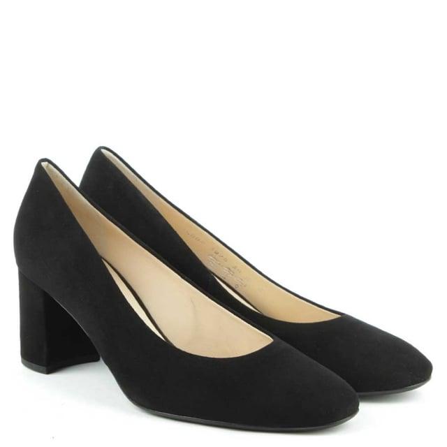 415f63ef625 Hogl Mid Block Heel Black Suede Court Shoe