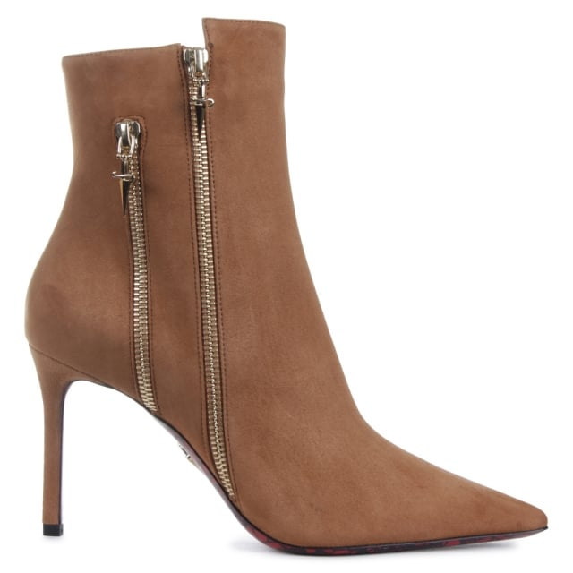 Mid Heel Beige Suede Double Zip Ankle Boot