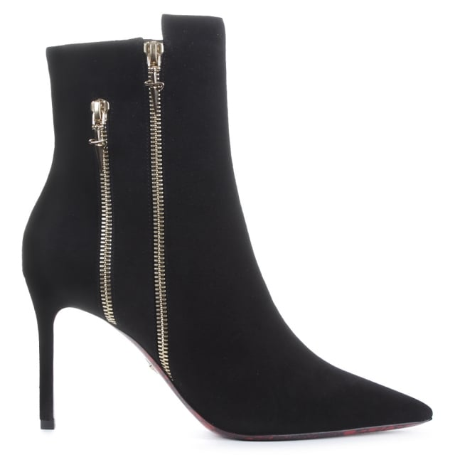Mid Heel Black Suede Double Zip Ankle Boot