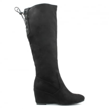 Middlecroft Black Wedge Knee Boot