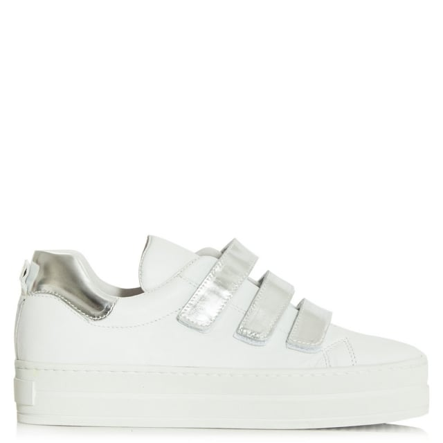 Middletown White Leather Velcro Strap Flatform Trainer