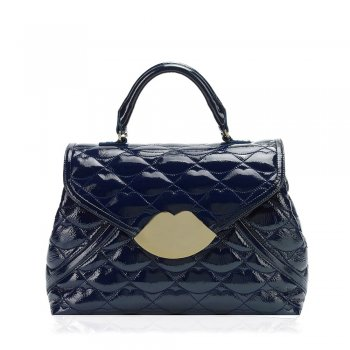 Midnight Medium Audrey Quilted Lips Women's Bag