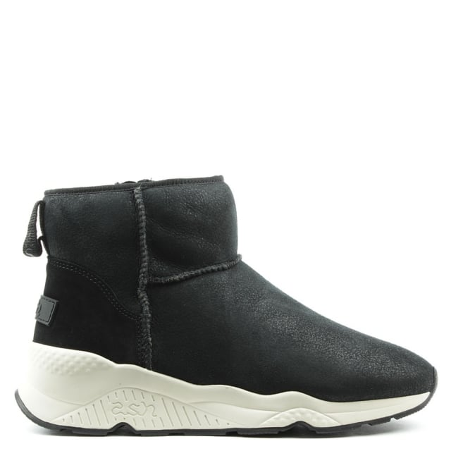 Miko Black Suede Faux Fur Lined Ankle Boot