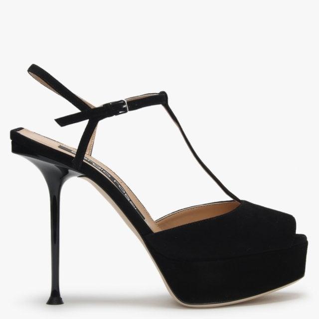 Sergio Rossi 90 Milano Sandals Suede Black Platform LzGUVMpSq