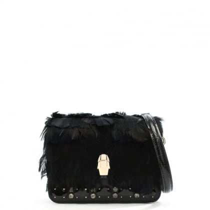 Milano Black Leather Feather Trim Shoulder Bag