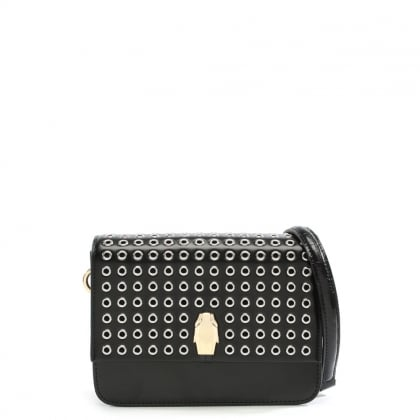 Milano Black Leather Grommet Embellished Shoulder Bag