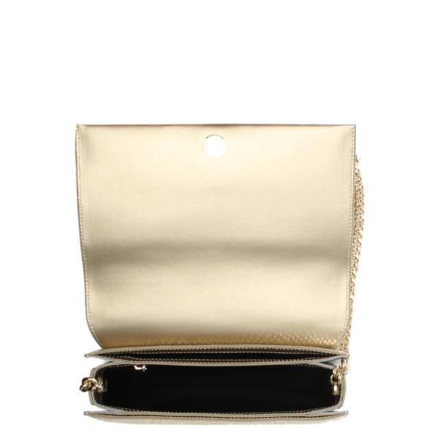9f51a6f140f Cavalli Class Milano Gold Metallic Leather Reptile Box Clutch Bag