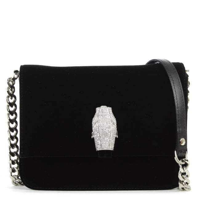 Milano Mini Black Velvet Shoulder Bag