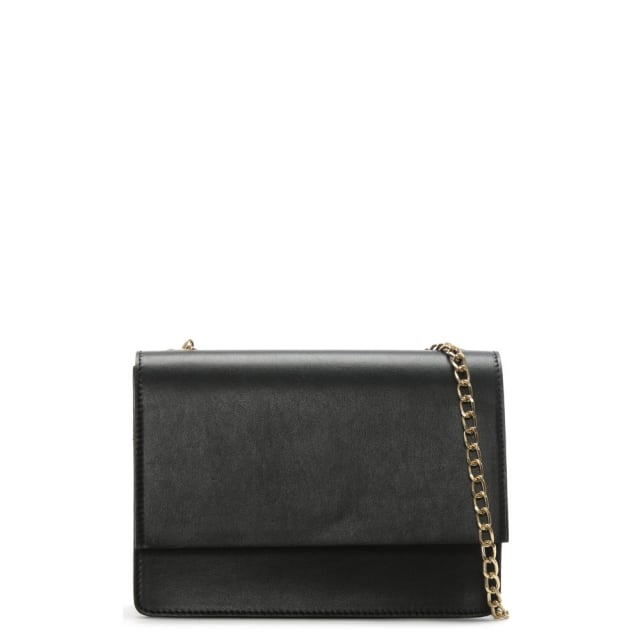 Milla Black Leather Chain Shoulder Bag