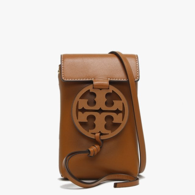 d2a9714a95b4a8 Tory Burch Miller Aged Camello Leather Phone Case Cross-Body Bag