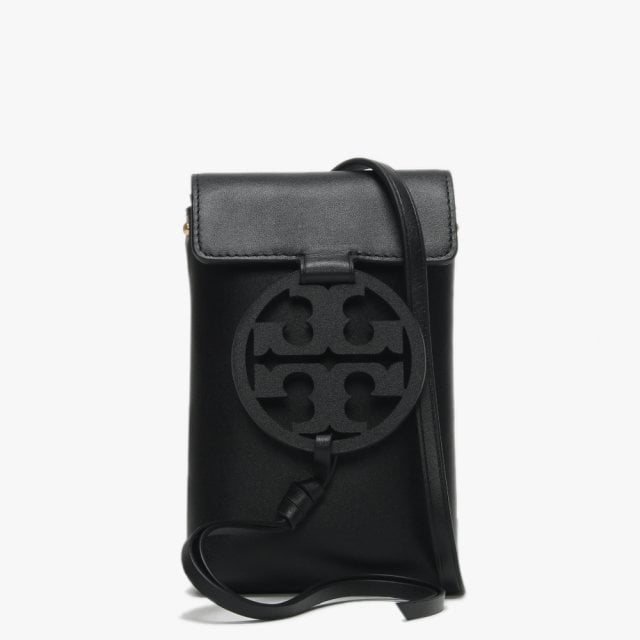 47408c55e45 Tory Burch Miller Black Leather Phone Case Cross-Body Bag