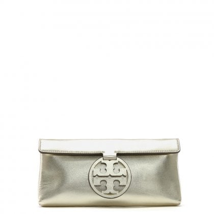 Miller Gold Metallic Leather Clutch Bag
