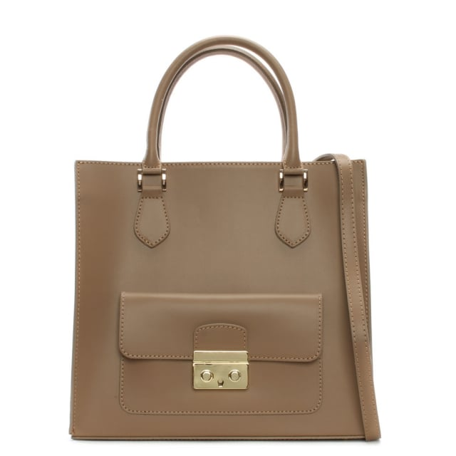 milting large taupe leather structured tote bag