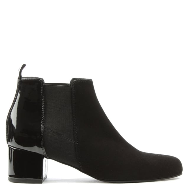 Mimi Black Suede Patent Back Ankle Boot