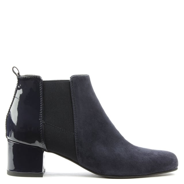Mimi Navy Suede Patent Back Ankle Boot