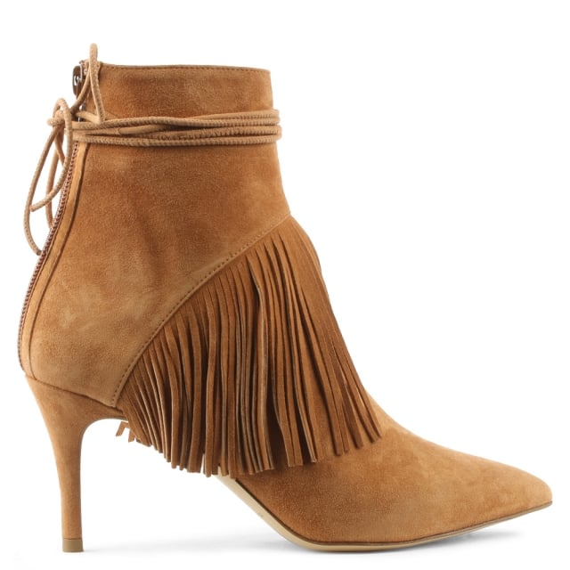 Mimi Tan Suede Fringed Ankle Boot