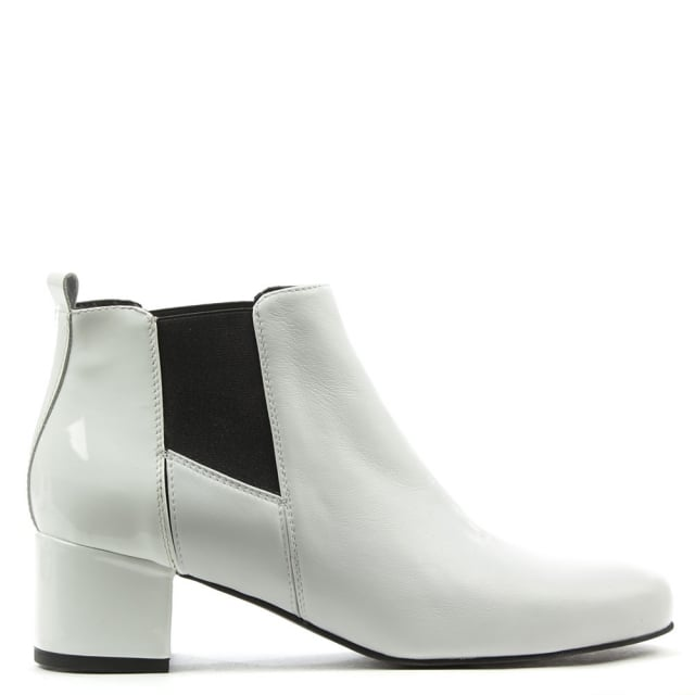 Mimi White Leather Patent Back Ankle Boot
