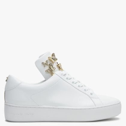 299a2ef47ef Mindy Optic White   Pale Gold Leather Applique Trainers. Free Standard UK  Delivery