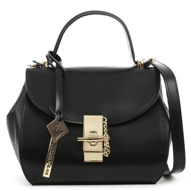 Mini Black Leather Structured Top Handle Bag