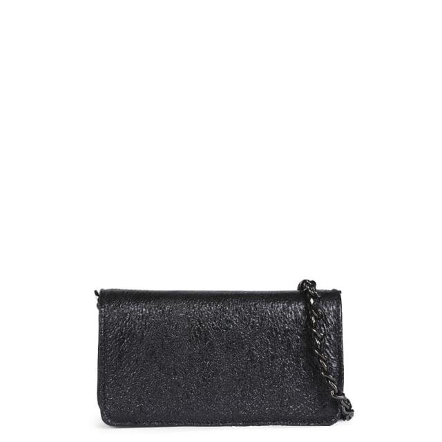 Abro Mini Black Textured Leather Cross-Body Bag