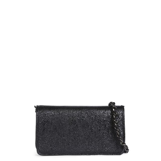 Mini Black Textured Leather Cross-Body Bag