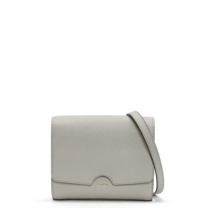 Mini Blush Grey Leather Flap Cross-body Bag