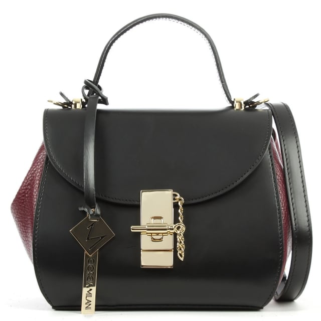 Mini Burgundy Leather Structured Top Handle Bag