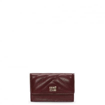 Mini Burgundy Textured Leather Purse