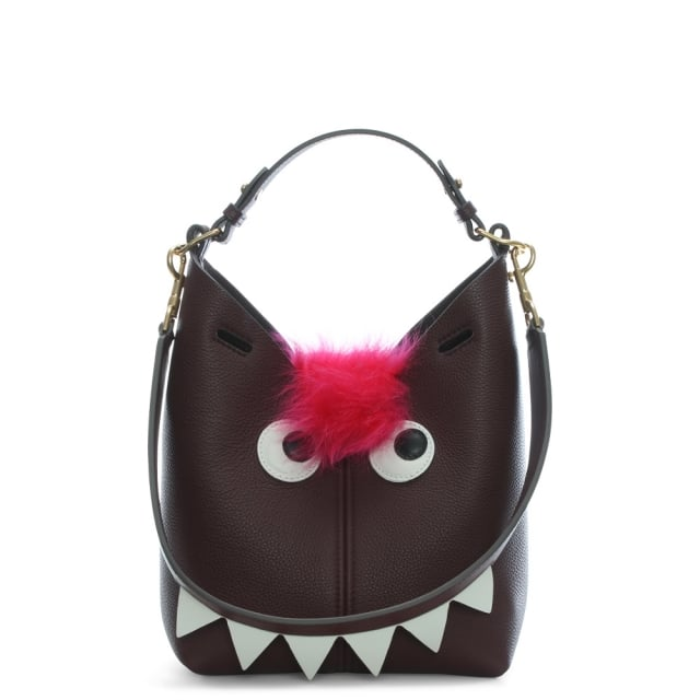 Anya Hindmarch Mini Claret Leather Creatures Bucket Bag