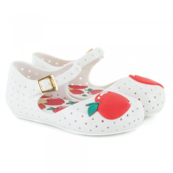 Mini Furadinha White Patent Kid's Cherry Flat Shoe