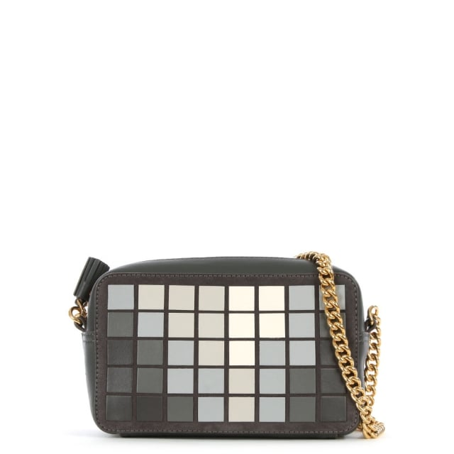 Mini Giant Pixels Grey Leather Cross-Body Bag